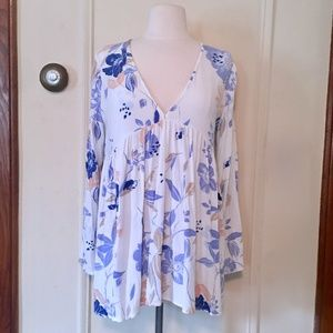 UO Free People White & Blue Floral Dress Blouse sm